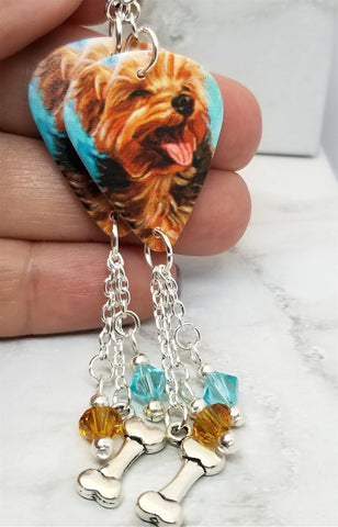 Yorkshire Terrier Yorkie Guitar Pick Earrings with a Bone Charm and Swarovski Crystal Dangles