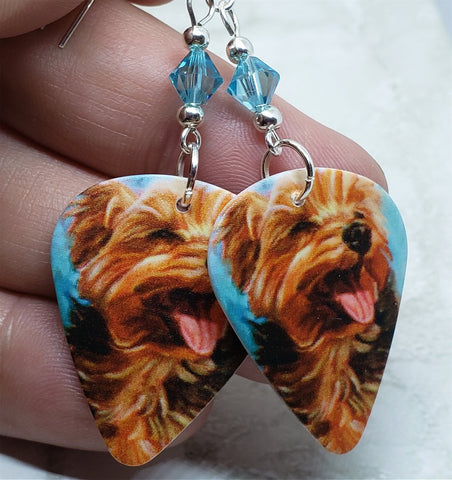 Yorkshire Terrier Yorkie Guitar Pick Earrings with Clear Turquoise Swarovski Crystals
