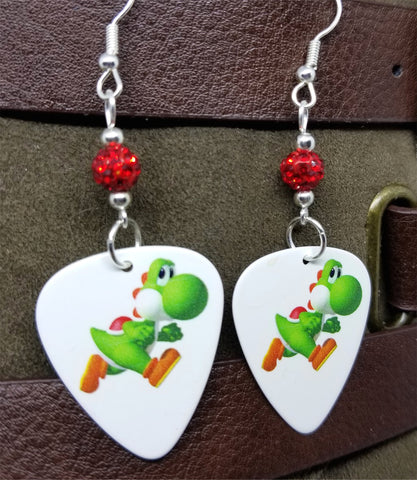 Yoshi Guitar Pick Earrings with Red Pave Beads