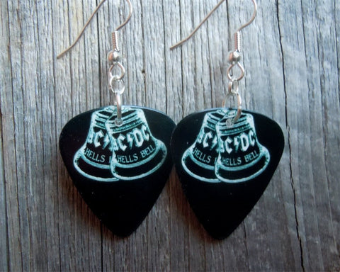 AC/DC Hells Bells Black Guitar Pick Earrings