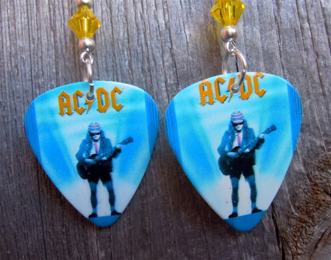 AC/DC Who Made Who Guitar Pick Earrings with Yellow Swarovski Crystals