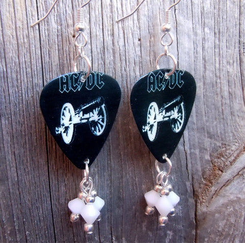 AC/DC For Those About to Rock Guitar Pick Earrings with White Swarovski Crystal Dangles