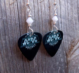 AC/DC High Voltage Guitar Pick Earrings with White Swarovski Crystals