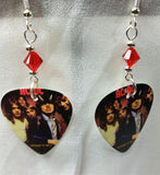 Highway To Hell AC/DC Guitar Pick Earrings with Red Swarovski Crystals