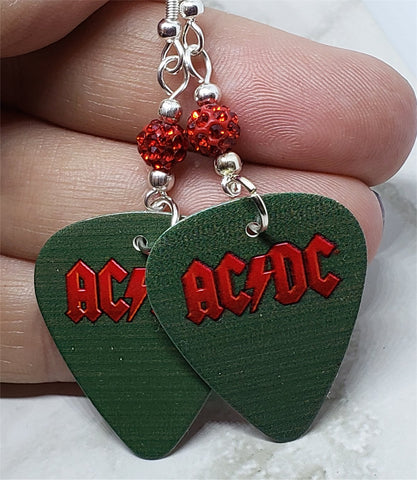 AC/DC Guitar Pick Earrings with Red Pave Beads