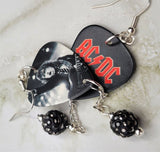 AC/DC Angus Young Guitar Pick Earrings with Pewter Pave Bead Dangles