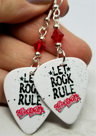 Aerosmith Let Rock Rule Guitar Pick Earrings with Red Swarovski Crystals