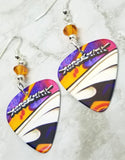 Aerosmith Guitar Pick Earrings with Orange Swarovski Crystals
