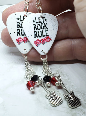 Aerosmith Let Rock Rule Guitar Pick Earrings with Charm and Swarovski Crystal Dangles