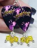Aerosmith Guitar Pick Earrings with Yellow Swarovski Crystal Dangles