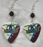 Aerosmith Guitar Pick Earrings with Deep Red Pave Beads