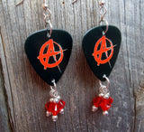 Red and Black Anarchy Guitar Pick Earrings with Red Swarovski Crystal Dangles