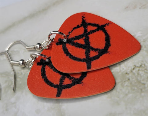 Red and Black Anarchy Guitar Pick Earrings