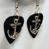 Anchor with Love Text Guitar Pick Earrings - Pick Your Color
