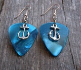 Small Anchor Charm Guitar Pick Earrings - Pick Your Color