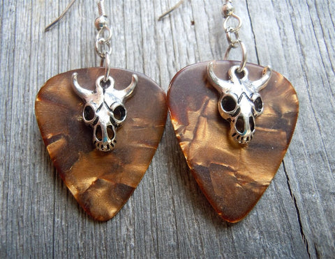 Animal Skull Guitar Pick Earrings - Pick Your Color