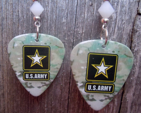 Army Camo Guitar Pick Earrings with White Swarovski Crystals