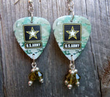 Army Camouflage Guitar Pick Earrings with Olivine Crystal Dangles