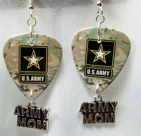 Army Camo Army Mom Guitar Pick Earrings