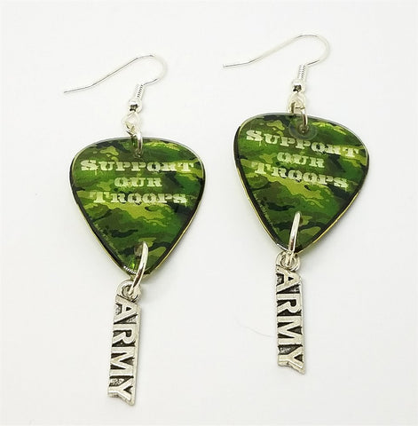 Support Our Troops Camo Army Guitar Pick Earrings