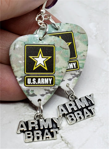 Army Camo Army Brat Guitar Pick Earrings