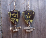 Army Insignia Military Wife Guitar Pick Earrings