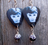Audrey Hepburn Guitar Pick Earrings with Ombre Pave Beads