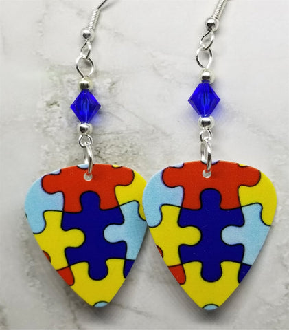 Puzzle Piece Autism Awareness Guitar Pick Earrings with Blue Swarovski Crystals