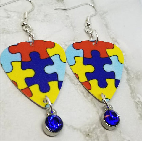 Puzzle Piece Autism Awareness Guitar Pick Earrings with Blue Crystal Charms