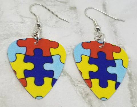 Puzzle Piece Autism Awareness Guitar Pick Earrings