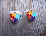 Puzzle Piece Heart Charm Guitar Pick Earrings - Pick Your Color - Autism Awareness