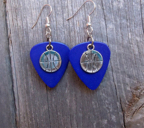 Large Basketball Charm Guitar Pick Earrings - Pick Your Color
