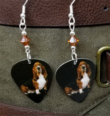 Basset Hound Guitar Pick Earrings with Brown Swarovski Crystals