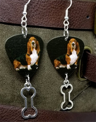 Basset Hound Guitar Pick Earrings with Bone Charm Dangle