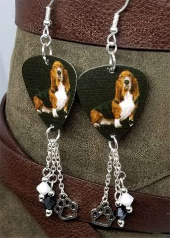 Basset Hound Guitar Pick Earrings with Paw Print Charm and Swarovski Crystal Dangles