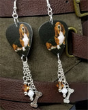 Basset Hound Guitar Pick Earrings with Bone Charm and Swarovski Crystal Dangles