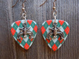 Upside Down Bat Charm Guitar Pick Earrings - Pick Your Color