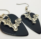 Bat Charm Guitar Pick Earrings - Pick Your Color