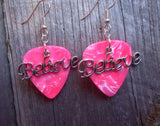 Believe Text Charm Guitar Pick Earrings - Pick Your Color
