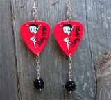 Red Betty Boop Guitar Pick Earrings with Black Studded Rhinestone Dangles