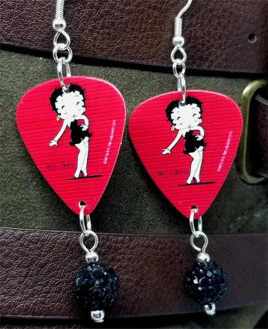 Betty Boop Guitar Pick Earrings with Black Pave Bead Dangles