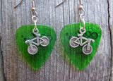 Bicycle Charm Guitar Pick Earrings - Pick Your Color