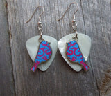Blue Bird Charms with Pink Flourishes Guitar Pick Earrings - Pick Your Color