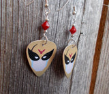 Harvey Birdman Attorney at Law Guitar Pick Earrings with a Red Crystal