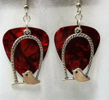 Bird on a Swing Charm Guitar Pick Earrings - Pick Your Color