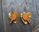 Orange Bird Charm Guitar Pick Earrings - Pick Your Color
