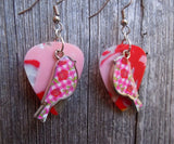 Pink Plaid and Flowered Bird Charm Guitar Pick Earrings - Pick Your Color