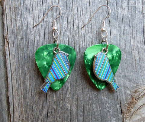 Blue and Green Striped Bird Charm Guitar Pick Earrings - Pick Your Color