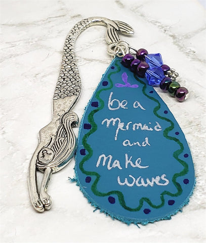 Mermaid Bookmark with Leather, Glass Beads, and Swarovski Crystal Bicones