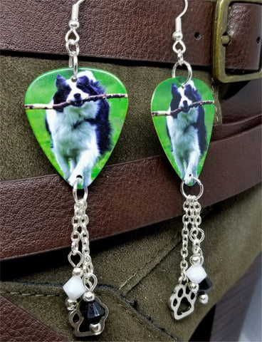 Border Collie Dog Guitar Pick Earrings with Paw Print Charm and Swarovski Crystal Dangles